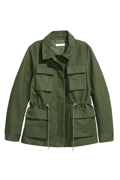 Cotton cargo jacket - Green - Ladies | H&M GB
