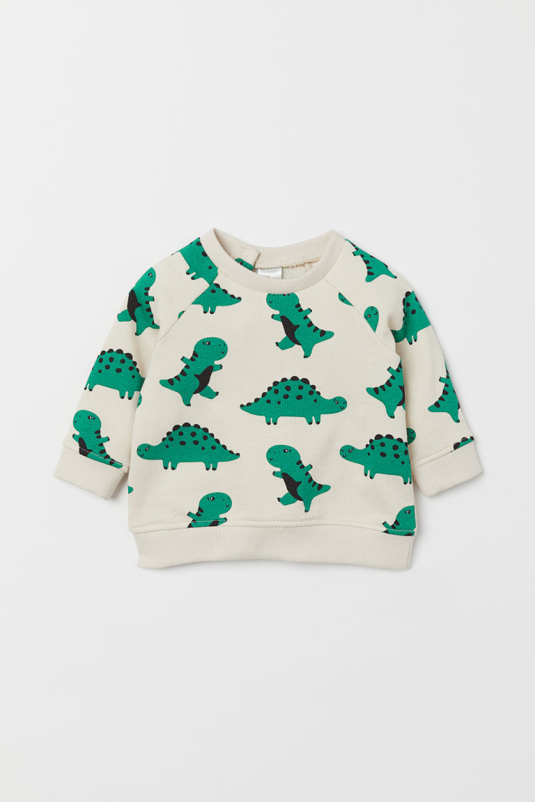 Cotton Sweatshirt - Natural white/dinosaurs - Kids | H&M US