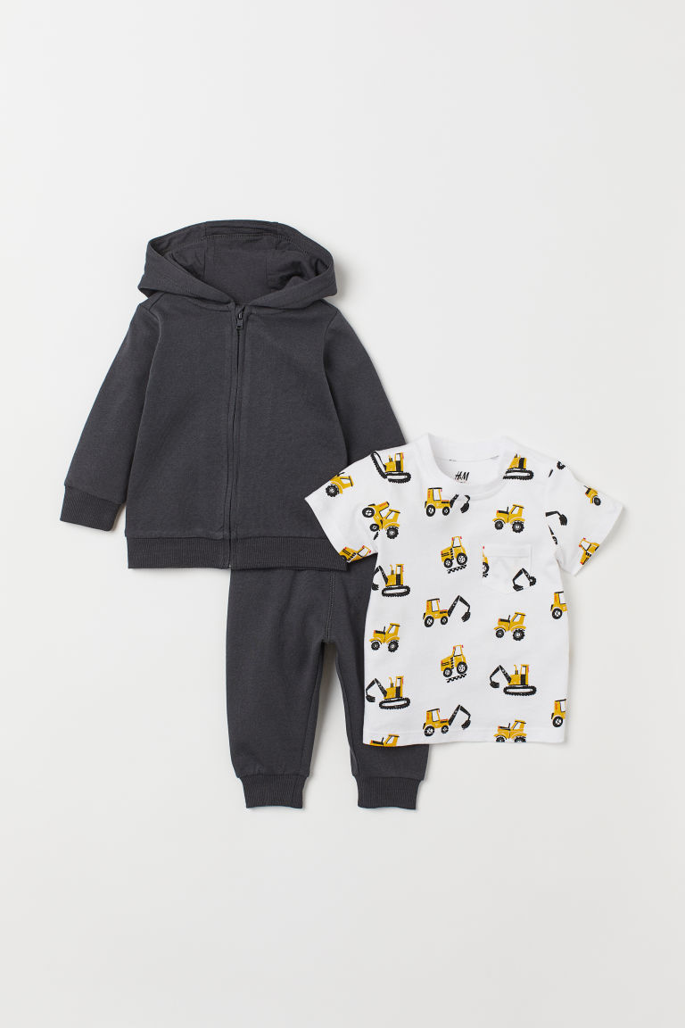 3-piece cotton set - Dark grey/Diggers - Kids | H&M IE