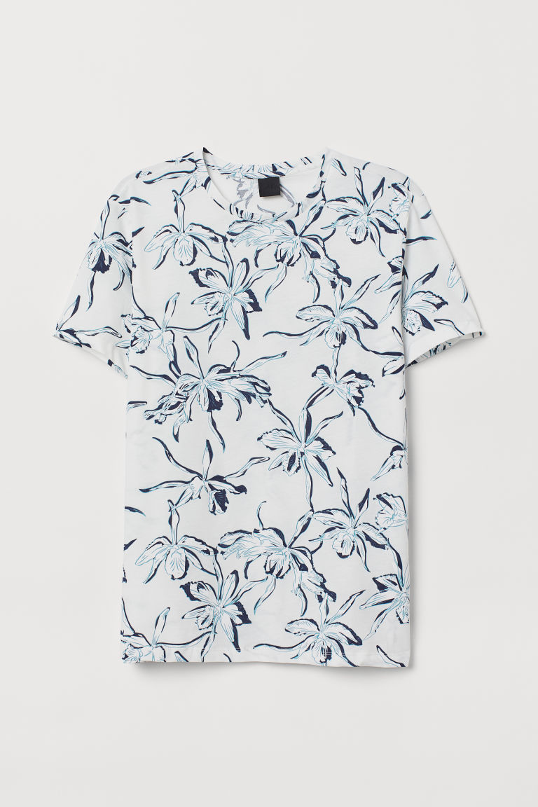 Cotton T-shirt - White/Floral -  | H&M CN