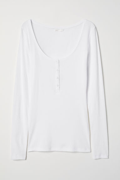 Henley Shirt - White - Ladies | H&M US