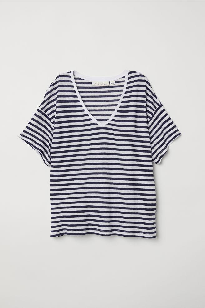d92f27f07830a V-neck linen-blend T-shirt - Dark blue White striped - Ladies