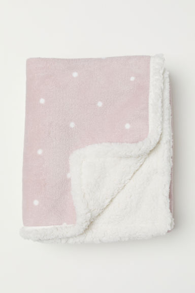Patterned fleece blanket - Light pink/Spotted - Home All | H&M CN