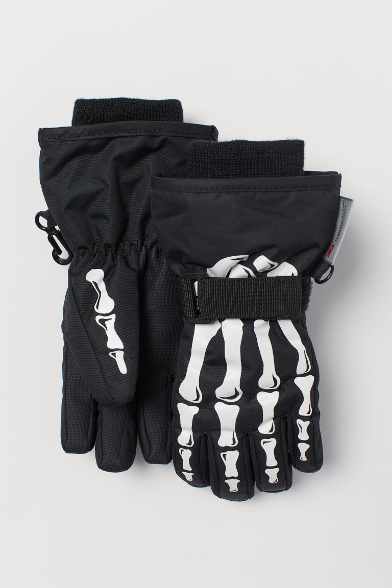 Printed ski gloves - Black - Kids | H&M CN