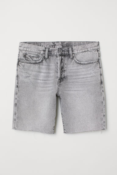 Straight Fit Denim shorts - Light grey - Men | H&M