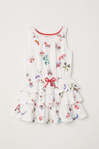 Tiered jersey dress - Natural white/Butterflies -  | H&M