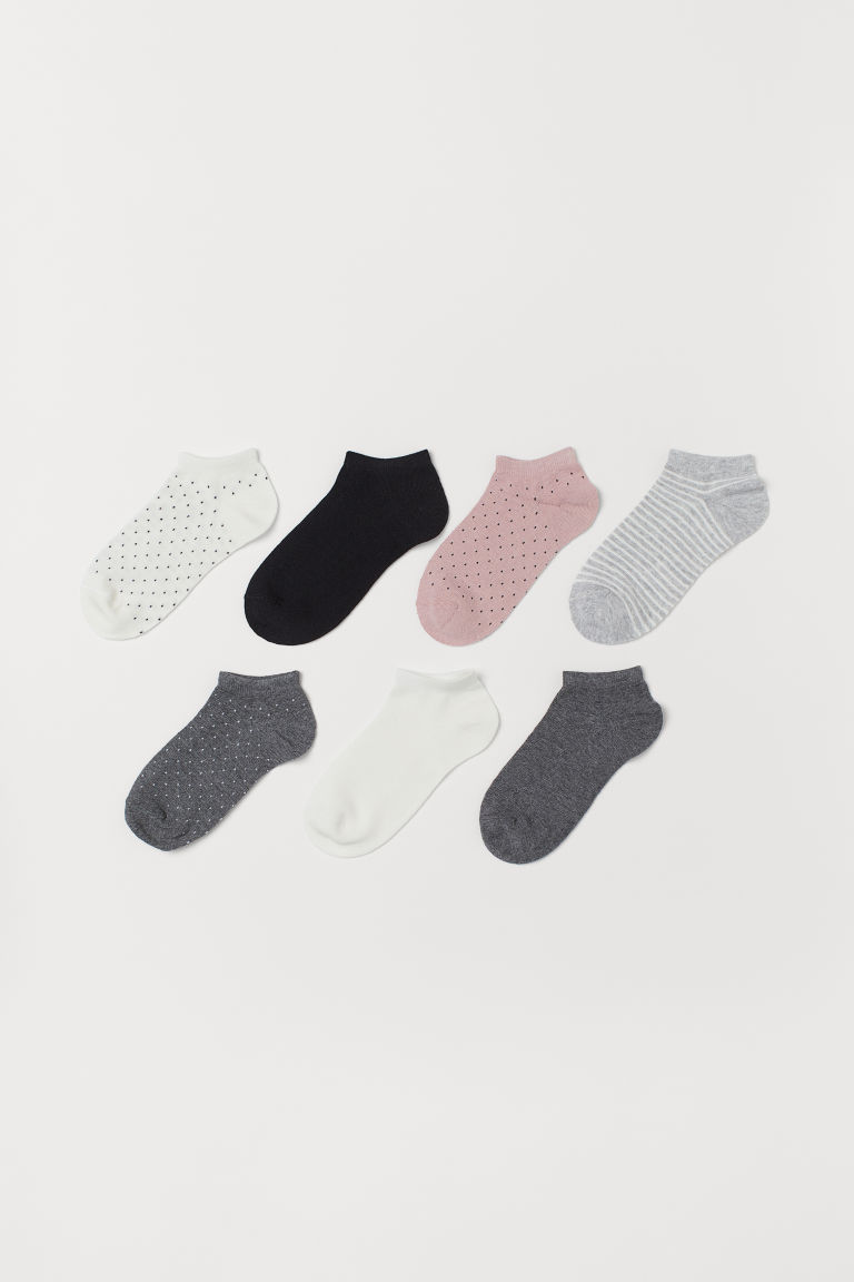 7-pack trainer socks - Natural white/Black spotted - Kids | H&M