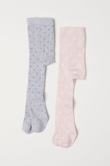2-pack tights - Light pink/Hearts -  | H&M