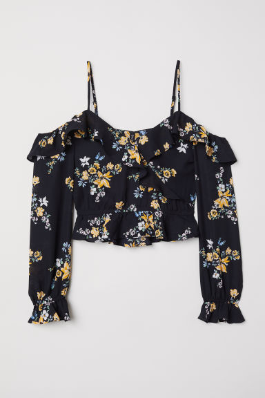 Cold shoulder blouse - Black/Floral -  | H&M CN