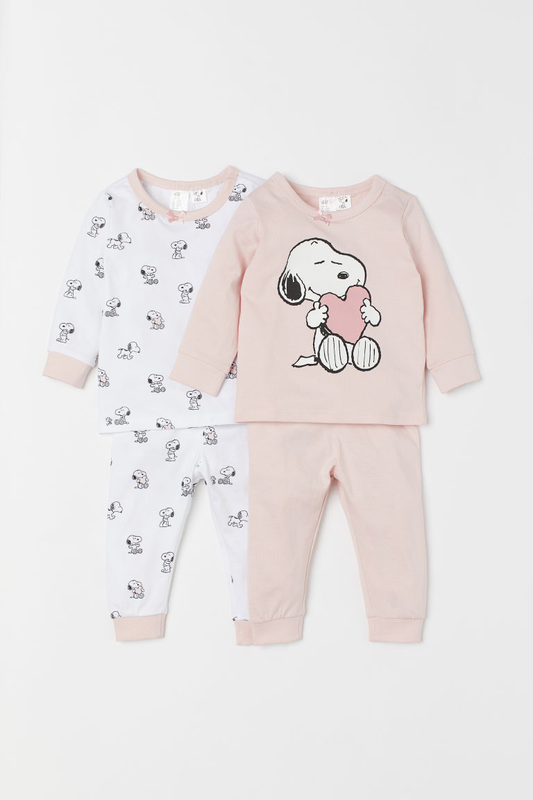2-pack jersey pyjamas - Light pink/Snoopy - Kids | H&M