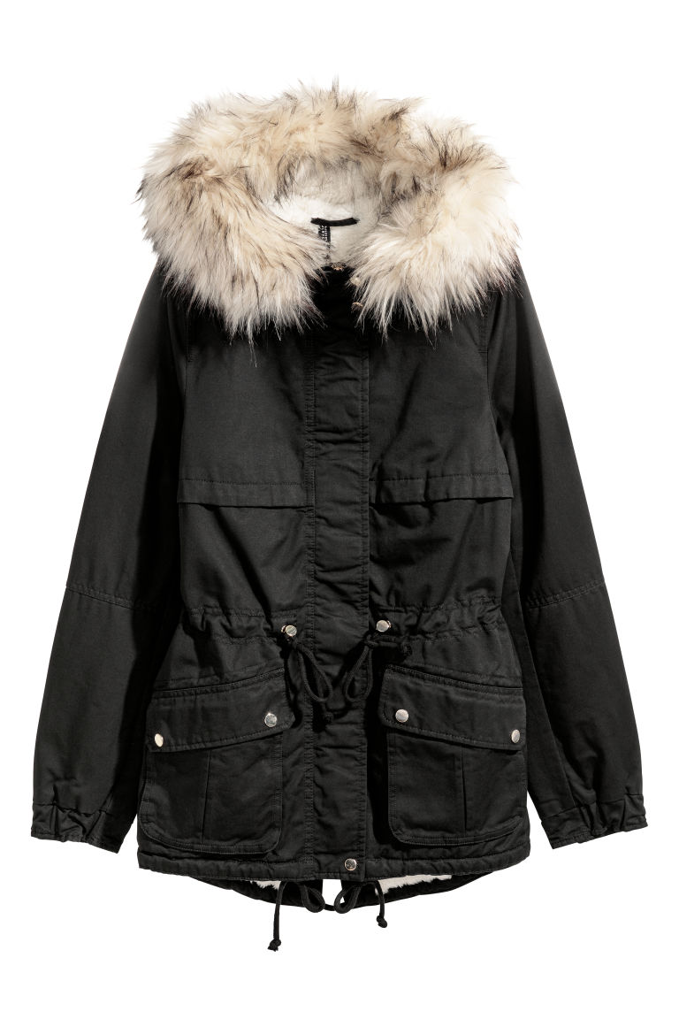 Pile-lined parka - Black -  | H&M