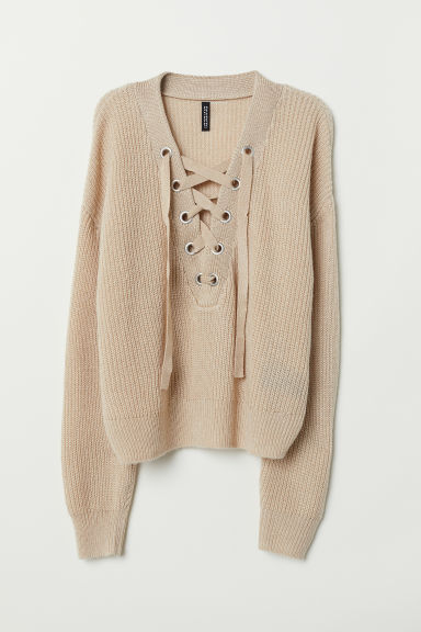 Knitted jumper with lacing - Light beige - Ladies | H&M IN