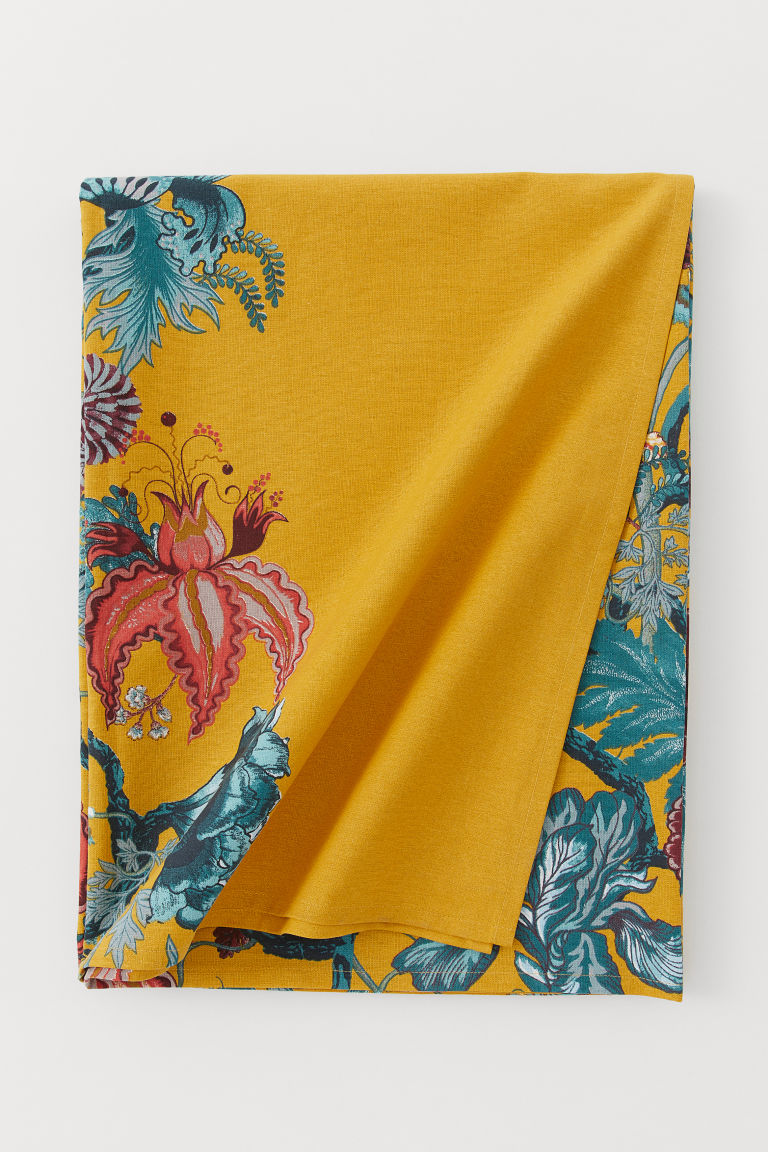 Patterned cotton tablecloth - Yellow/Parrots - Home All | H&M IE