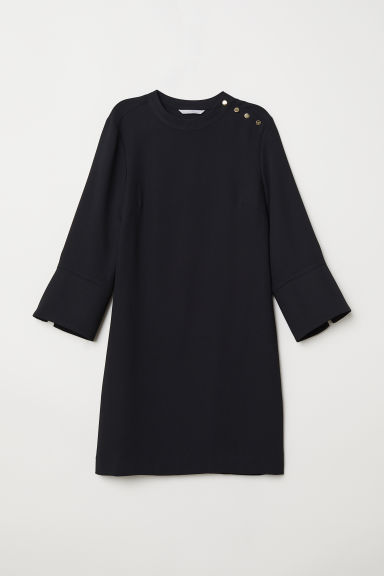 Dress with a stand-up collar - Black - Ladies | H&M