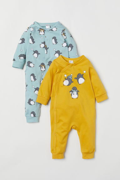 2-pack jersey pyjamas - Yellow/Penguins - Kids | H&M