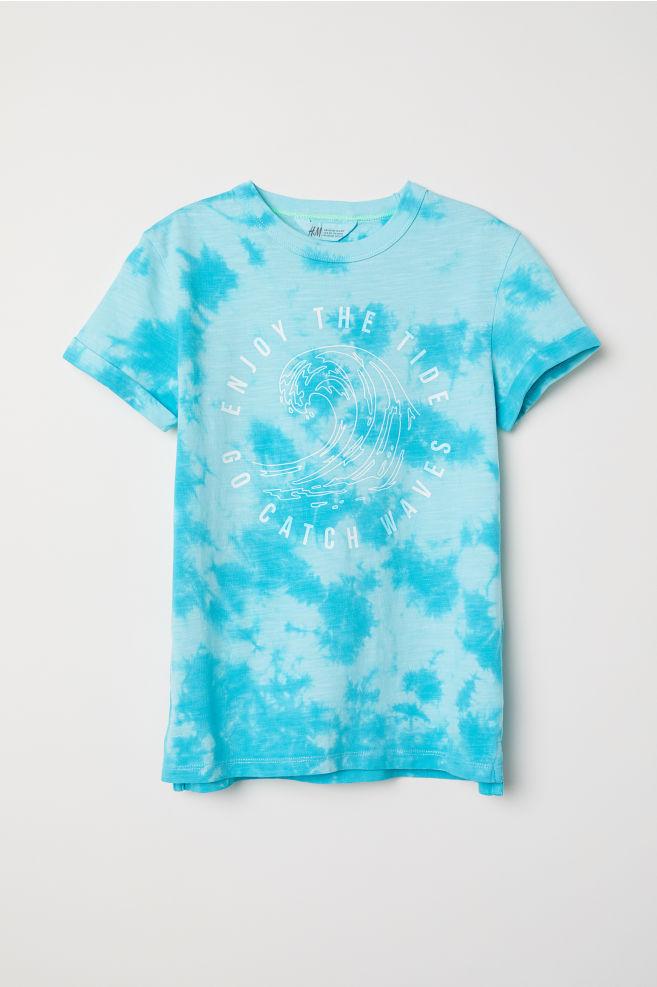 ef5712f1322e T-shirt with Printed Design - Turquoise/batik - Kids   H&M ...