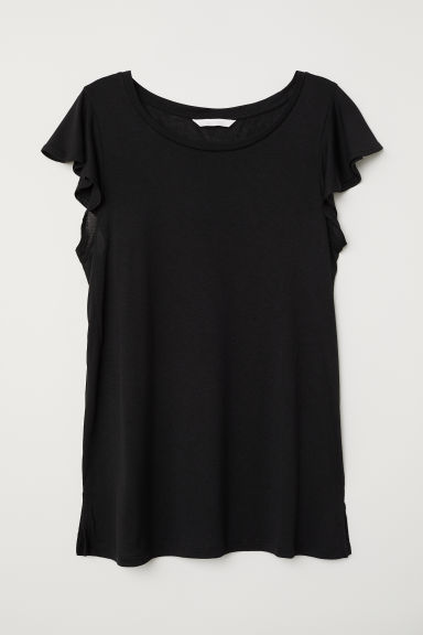 Flounce-sleeved jersey top - Black - Ladies | H&M
