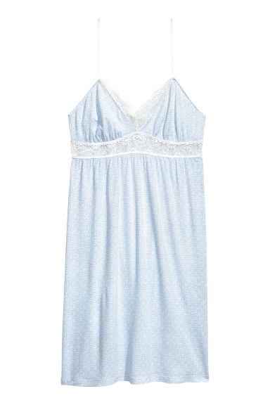 Nightslip with lace - Light blue/Patterned - Ladies | H&M