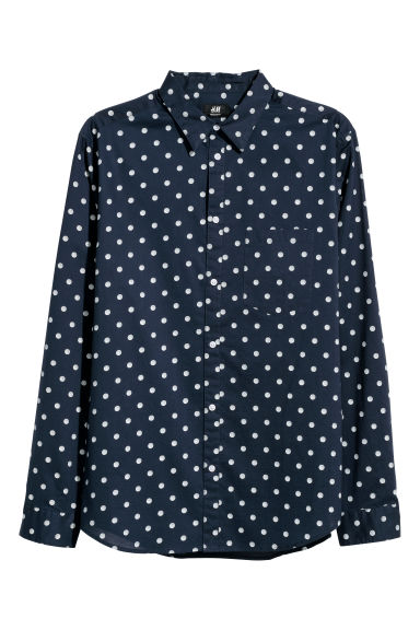 Cotton shirt Regular fit - Dark blue/White spotted - Men | H&M GB