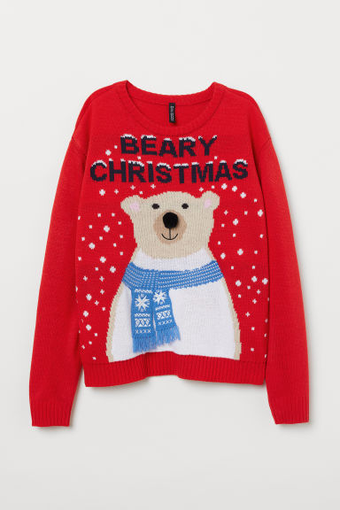 针织套衫 - 红色/Beary Christmas -  | H&M CN
