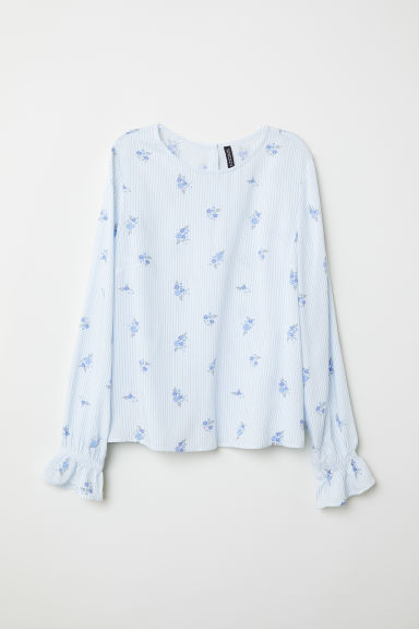 Patterned viscose blouse - Light blue/White striped -  | H&M CN