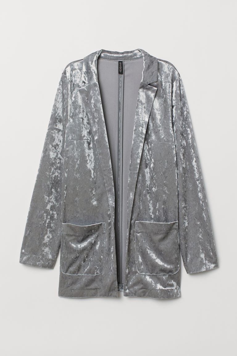 Crushed velvet jacket - Grey -  | H&M
