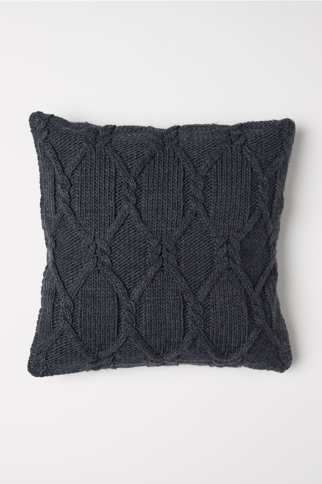 Cable Knit Cushion Cover Dark Gray Hm Us