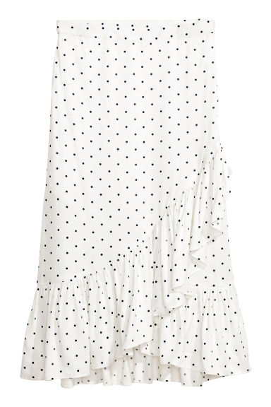 Calf-length flounced skirt - White/Spotted - Ladies | H&M GB