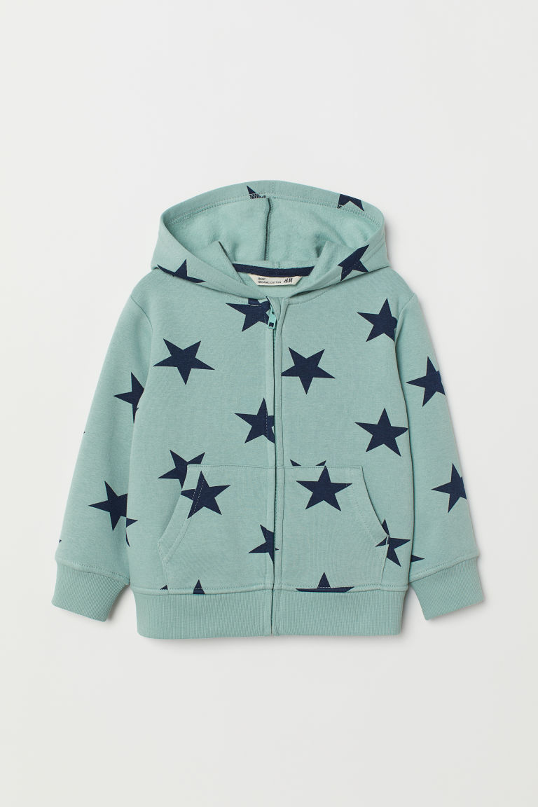 Hooded jacket - Dusky green/Stars - Kids | H&M CN