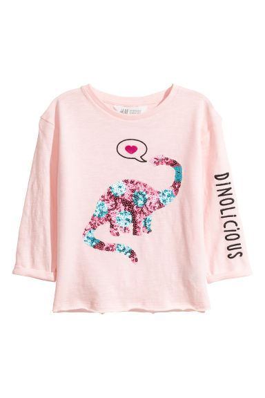 Top in jersey con paillettes - Rosa cipria/dinosauro - BAMBINO | H&M IT