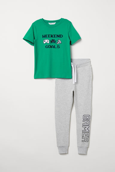 T-shirt and joggers - Green/Grey marl - Kids | H&M
