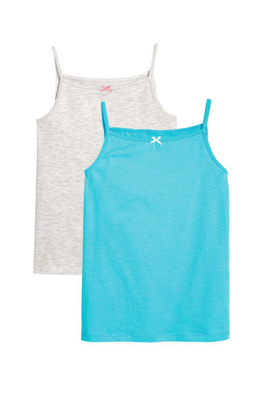 2-pack vest tops - Turquoise/Spotted - Kids | H&M CN