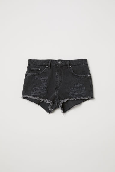 Denim shorts Skinny Regular - Black washed out -  | H&M CN