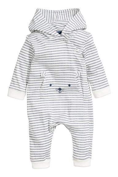 Printed jersey all-in-one suit - White/Blue striped - Kids | H&M CN