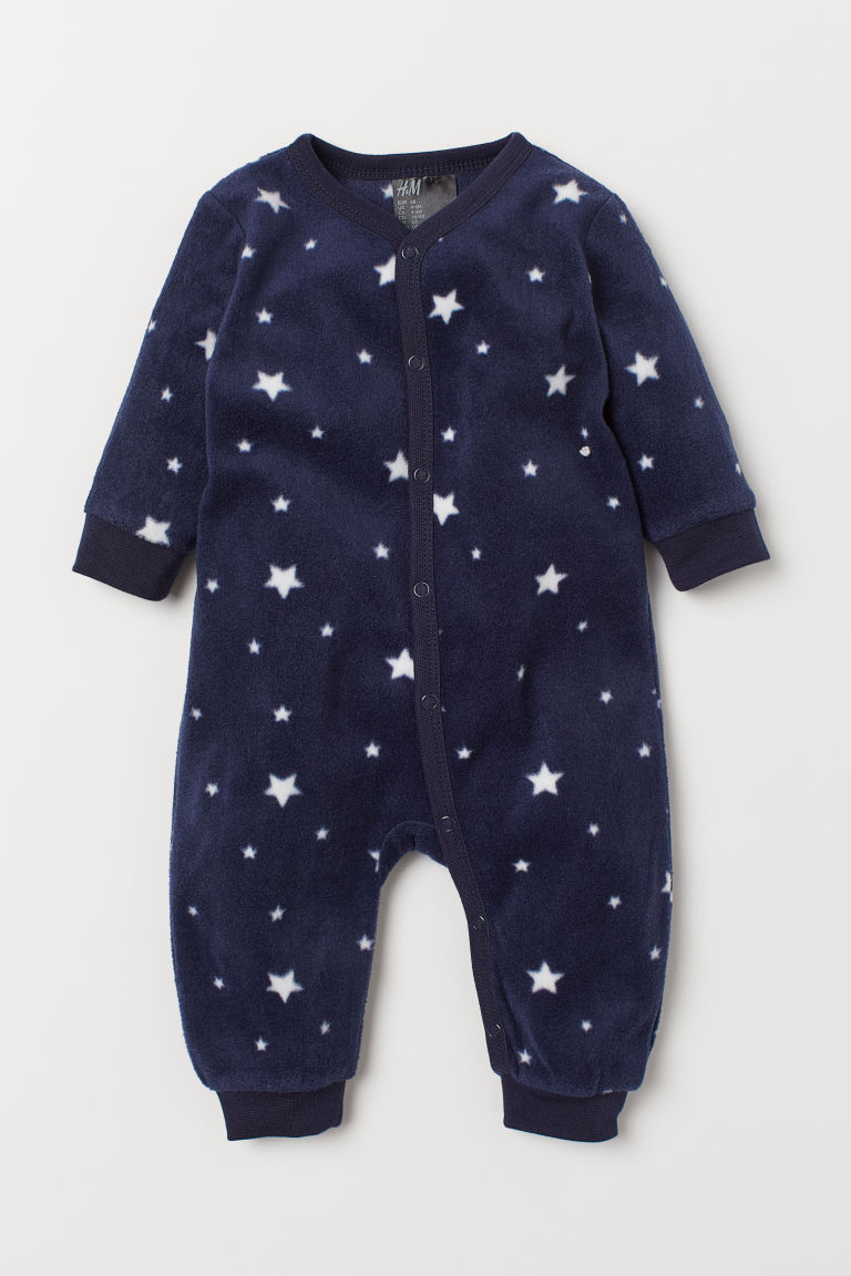 Fleece all-in-one pyjamas - Dark blue/Stars - Kids | H&M IN