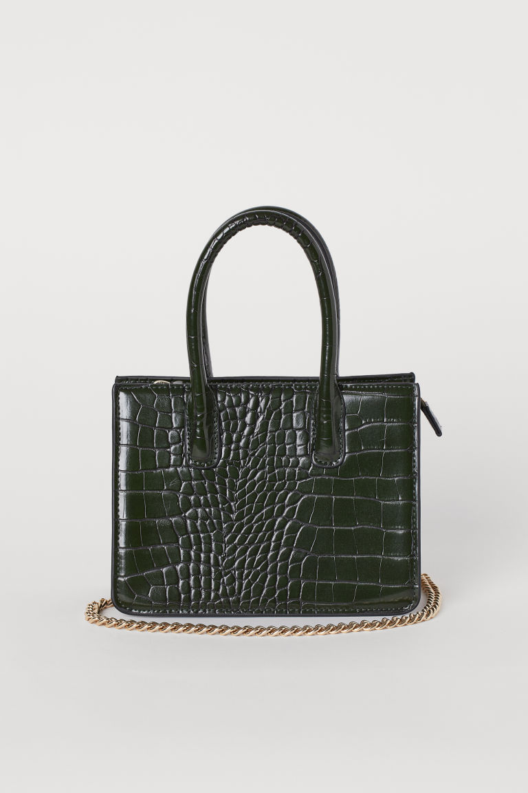 Mini handbag - Dark green/Crocodile-patterned - Ladies | H&M