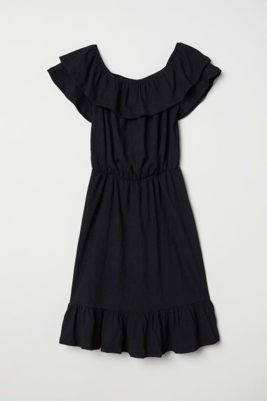 Off-the-shoulder dress - 黑色 -  | H&M CN