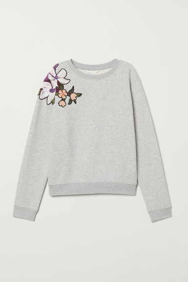 Printed sweatshirt - Grey marl/Beaded embroidery - Ladies | H&M