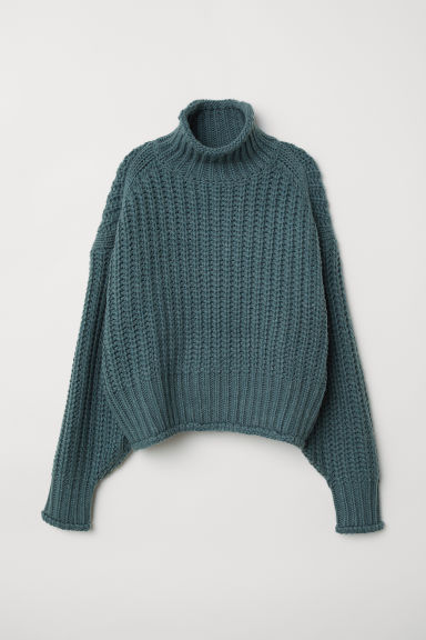 Ribbed polo-neck jumper - Turquoise - Ladies | H&M