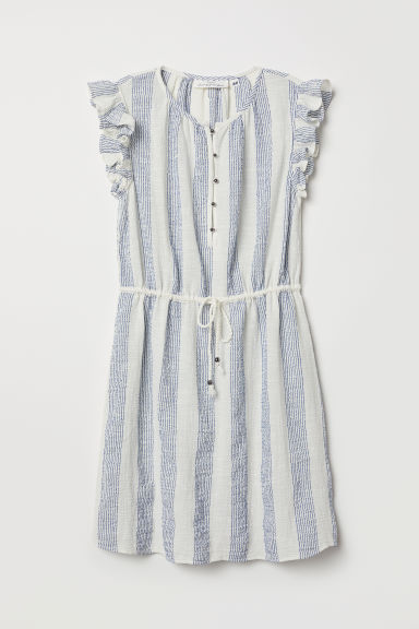 Cotton crêpe dress - White/Blue striped - Ladies | H&M