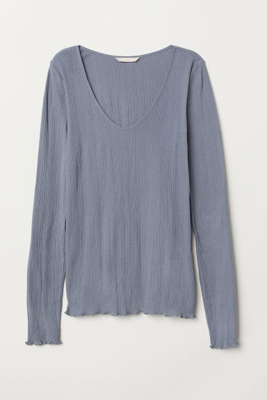 Ribbed jersey top - Light grey-blue - Ladies | H&M CN