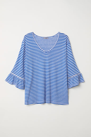 H&M+ Boat-neck top - White/Blue striped -  | H&M
