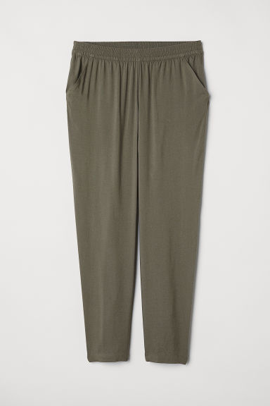 Elasticated viscose trousers - Khaki green - Ladies | H&M