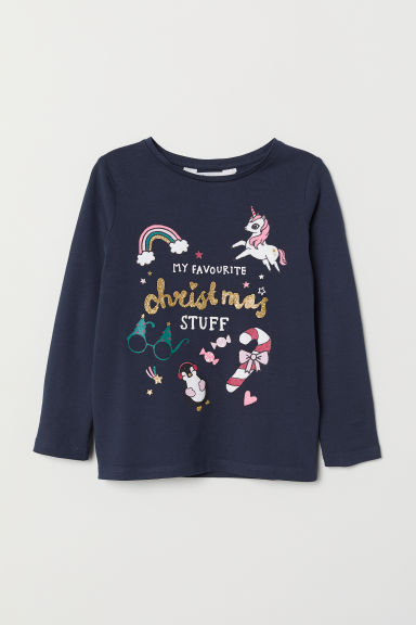Printed jersey top - Dark blue/Unicorn - Kids | H&M