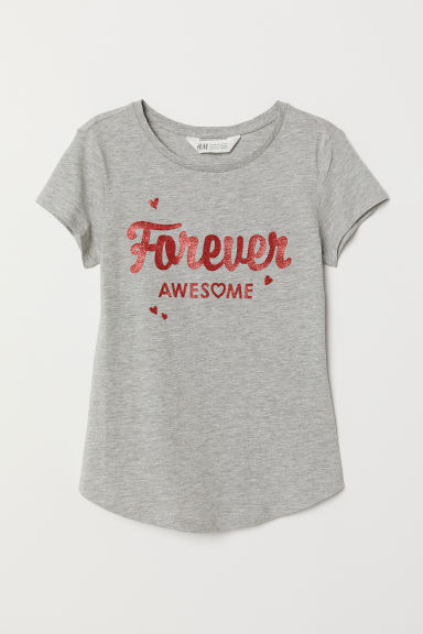 Printed T-shirt - Grey marl/Forever Awesome - Kids | H&M