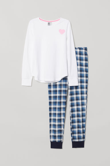 Jersey pyjamas - Dark blue/White checked -  | H&M
