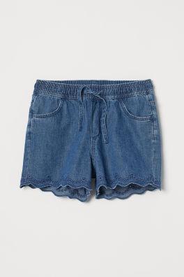 b20f3410a9e Dark denim blue · Shorts with broderie anglaise