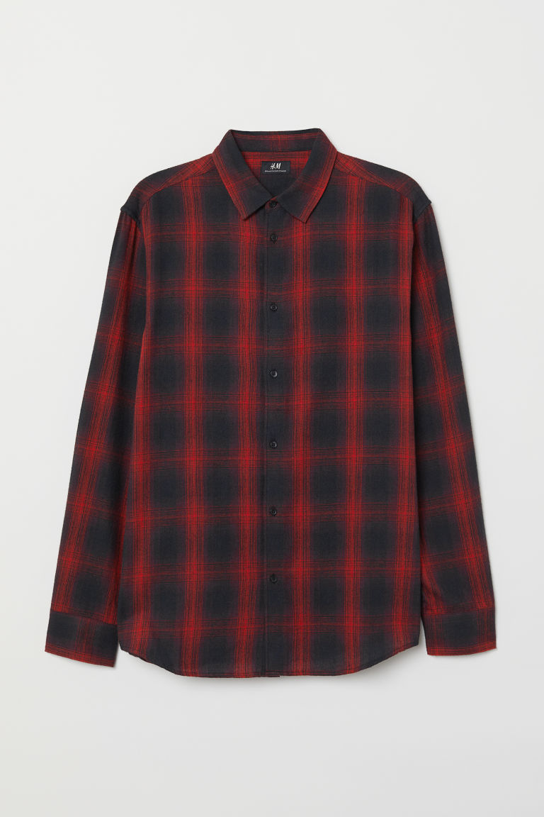 Regular Fit Checked Shirt - Red/black plaid - Men | H&M CA