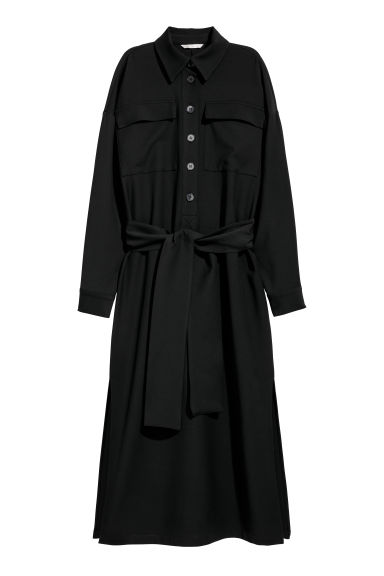 Shirt dress with a tie belt - Black -  | H&M IE