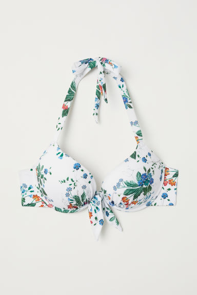 Super push-up bikini top - White/Floral - Ladies | H&M CN